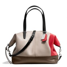 Coach Bleecker Cooper Satchel In Colorblock Leather (€295) ❤ liked on Polyvore featuring bags, handbags, purses, coach handbags, leather handbag purse, cell phone purse, genuine leather purse and leather handbags