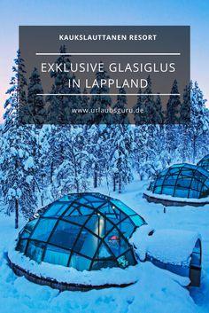 Traumhafte Unterkünfte – Glasiglus und traditionelle Blockhütten warten im Kakslauttanen Resort in Lappland auf euch. Ideal, um die Nordlichter zu bestaunen.