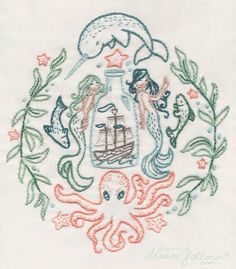 One of Aimee's magical embroidery patterns. Mermaids! A ship in a bottle! Sea creatures! So much fun --- Bugs and Fishes by Lupin: Crafty Ladies: Meet Aimee Ray