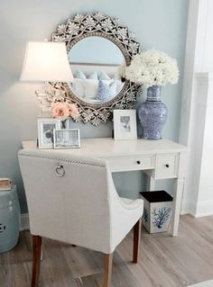 Chic Vanity with Table Lamp and Flowers