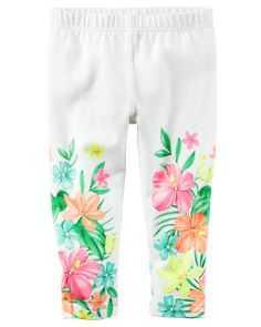 Kid Girl Floral Capri Leggings from Carters.com. Shop clothing & accessories from a trusted name in kids, toddlers, and baby clothes.
