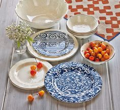 Artisan Blue Melamine Dinner Plates Set/4
