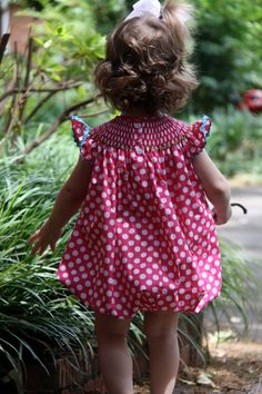 Baby chicks smocked polka dot bubble by annamichael on Etsy, $39.00