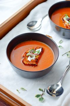 Pureed red pepper and potato soup