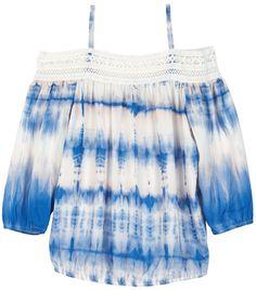 Tie-Dye Girls 7-16 IZ Amy Byer Cold Shoulder Printed Crochet Top (affiliate)
