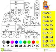 Exercise for children with multiplication by three - need to paint image in relevant color. Educational Activities, Math Activities, Teaching Tools, Teaching Kids, Math Sheets, Kids Math Worksheets, 2nd Grade Math, Math For Kids, Exercise For Kids