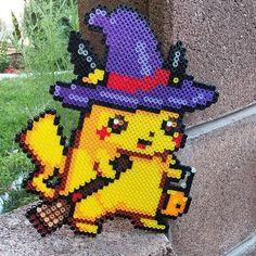 Halloween Pikachu perler beads by perler_magic_geek