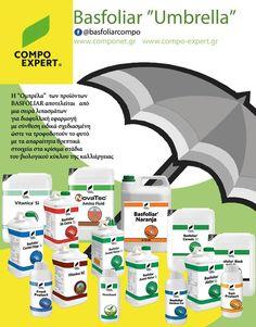 """Η """"Ομπρέλα"""" των προϊόντων #BASFOLIAR® της COMPO EXPERT  Η """"Ομπρέλα"""" των προϊόντων #BASFOLIAR® Basfoliar Compo αποτελείται από μια σειρά λιπασμάτων  για διαφυλλική εφαρμογή   με σύνθεση ειδικά σχεδιασμένη  ώστε να τροφοδοτούν το φυτό με τα απαραίτητα θρεπτικά στοιχεία στα κρίσιμα στάδια του βιολογικού κύκλου της καλλιέργειας."""