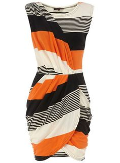 GREAT graphic dress for Spring! Dorothy Perkins orange striped wrap over dress