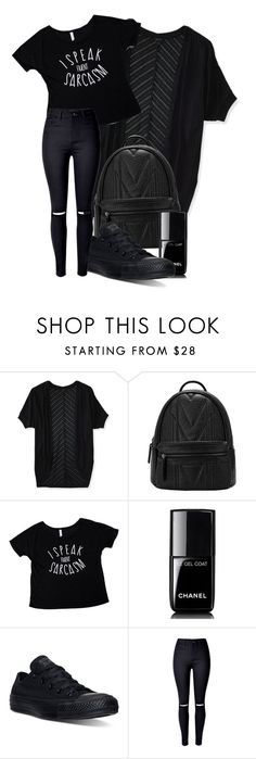 •black fashion• by penguinx14 on Polyvore featuring Mode, Aéropostale, WithChic, Converse and Chanel