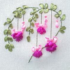 Wonderful Ribbon Embroidery Flowers by Hand Ideas. Enchanting Ribbon Embroidery Flowers by Hand Ideas. Embroidery Flowers Pattern, Silk Ribbon Embroidery, Crewel Embroidery, Hand Embroidery Designs, Embroidery Thread, Ribbon Art, Ribbon Crafts, Embroidery Boutique, Embroidery Stitches Tutorial