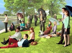 Love this photo of The Office cast re-interpreting the Georges Seurat painting & Sunday Afternoon on the Island of La Grande Jatte. Georges Seurat, Michael Scott, The Office Season 8, Live Action, Best Tv, The Best, Office Cast, Office Tv, Office Style