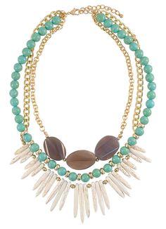 Turquoise and Bone White Paleo Necklace | $16 | jewelboxonline.com