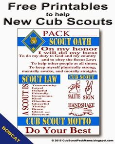 Free Printables for Cub Scouts earning Bobcat - Cub scouts tiger - Cub Scout Motto, Cub Scout Law, Boy Scout Oath, Cub Scouts Wolf, Tiger Scouts, Scout Mom, Scout Leader, Girl Scouts, Eagle Scout
