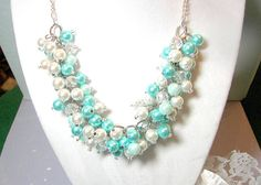 Turquoise  Aqua and White Pearls with Clear by SeagullSmithJewelry