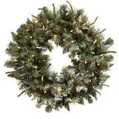 "Lighted Frosted Pine Wreath - Green (30"")"