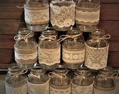 Wedding Centerpieces, Rustic Wedding Decorations, Burlap Mason Jars, Mason Jar Wedding, Baby Shower Decorations. NO JARS