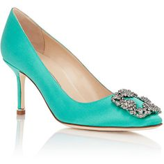 Manolo Blahnik Women's Satin Hangisi Pumps (65.205 RUB) ❤ liked on Polyvore featuring shoes, pumps, leather sole shoes, manolo blahnik pumps, pointy-toe pumps, green high heel pumps and green shoes