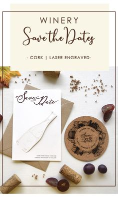 Build the anticipation of your wedding day with your Coaster Save the Dates. The excitement starts as soon as they receive your Save the Date in the mail..Your Save the Date will give a sneak peek of your winery wedding theme. It will also invite your guests to use the coaster and they will remember your wedding date every time they drink a glass of wine. The bottle design is also laser-engraved on the card and cut to hold the coaster. #winerysavethedates #coaster #rusticweddingsavethedates