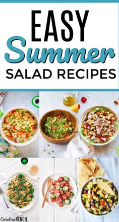 Take a look at these yummy easy Summer Salad Recipes. 25 of the best easy summer salads for you to try this summer that are light and tasty. Easy recipes to bring to the next BBQ or cook out or party over the summer. Easy Summer Dinners, Easy Summer Salads, Summer Salad Recipes, Easy Salad Recipes, Easy Healthy Recipes, Cheap Dinners, Healthy Meals, Healthy Food, Dinner Recipes Easy Quick