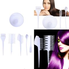 6X Hairdressing Hair Dye Color Bowl Color Mixing Comb Brush Set Tint Tools White ** Be sure to check out this awesome product.
