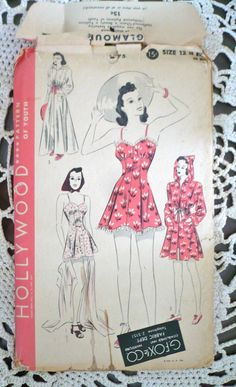 1940s BATHING SUIT With Bloomers and Beach Coat RARE Vintage Sewing Pattern Hollywood Size 12  Bust 30 Uncut.