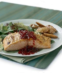Epicurious: Mustard Roasted Salmon with Lingonberry Sauce - Cranberry sauce or huckleberry preserves can be substituted for the lingonberry preserves. Serve with: Roasted fingerling potatoes tossed with dill, and a mixed green salad. Salmon Recipes, Fish Recipes, Seafood Recipes, Cooking Recipes, Gourmet Recipes, Roasted Fingerling Potatoes, Fish Dishes, Seafood Dishes, Sweden