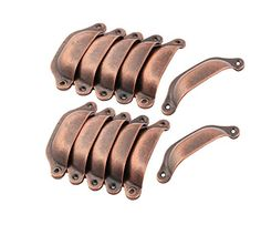 Antrader 97mm Length Metal Vintage Style Shell Shape Pull Handle for Closet Drawer Door Pack of 12 (Copper Tone)