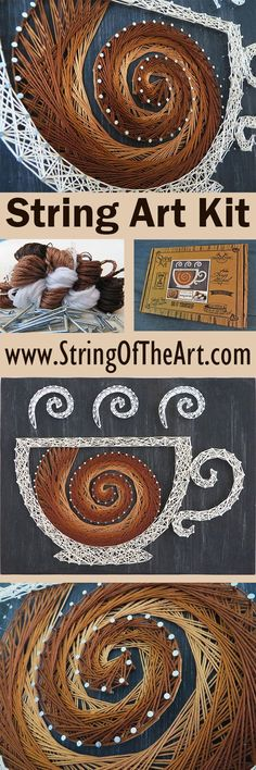 DIY String Art Kit - Visit http://www.StringoftheArt.com to learn more about creating this easy and fun coffee string art project!  Kit comes with a HAND sanded and HAND painted distressed black pine wood board, highest quality embroidery floss, metallic wire nails, easy to follow instructions, and pattern template.  DIY Home Decor, Crafts Kit, DIY and Crafts, Coffee Decor