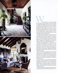 "@elledecor - April 2015 ""The Golden Age"" - Exquisite Surfaces antique terra cotta chosen for Mediterranean-style house in Santa Monica."