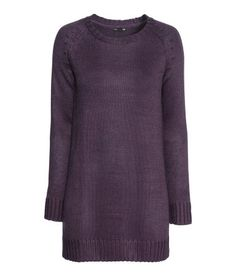 H&M Knit Sweater  Long sweater in soft knit fabric with wool content. Long sleeves. Dark Purple.