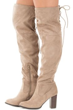 2e610935bf08 Lime Lush Boutique - Taupe Faux Suede Knee High Boots with Tie Back Detail