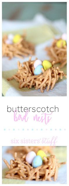 Butterscotch Bird Nest Treats from SixSistersStuff.com | My kids loved helping me make these! The perfect treat for Spring!