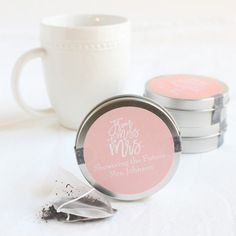These personalized mini tea tin favors make such a fun wedding favor! Bridal Shower Decorations, Wedding Decorations, Best Wedding Favors, Tea Tins, Wedding Napkins, Plastic Cups, Personalized Favors, Champagne Flutes, Dollar Stores