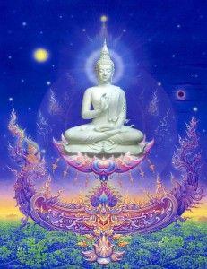 Celestial Buddha from Wat Rong Khun Lotus Buddha, Art Buddha, Buddha Kunst, Buddha Life, Buddha Zen, Buddha Buddhism, Buddhist Art, Chinese Buddha, Buddhist Wisdom
