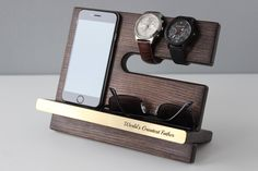 Personalized Wood Docking Station Charging Desktop organizer Nightstand 40th birthday present Gifts ideas for Mom Dad Men iPhone 7 Handmade by TarasFalvarak on Etsy