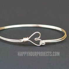 DIY Wire Wrapped Heart Bangle Bracelet at www.happyhourprojects.com