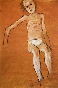 Egon Schiele  / Nude girl sitting 1910  Gouache and charcoal with white outline