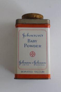 Vintage Johnson's Baby Powder Borated Talcum Powder by PeggysTrove, $35.00