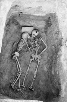 """The Lovers""   from 1972 season at Hasanlu    Hasanlu is an archaeological excavation site in Iran, Western Azerbaijan, Solduz Valley. These skeletons were found in a Bin with no objects. The only feature is a stone slab under the head of the skeleton on the lefthand side (SK335).