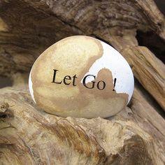 Engraved  Beach Pebble Message Stone - Let Go !