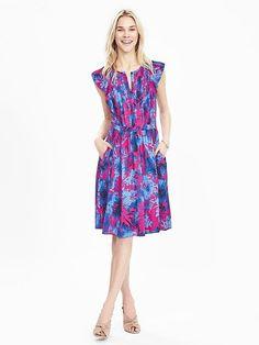 Floral Flutter-Sleeve Dress Purple blue nude shoes