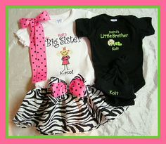 Big Sister Little Brother TShirt Onesie by myembroideryboutique,