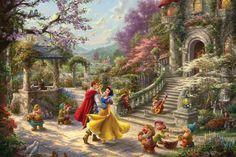 Kinkade Paintings, Thomas Kinkade Disney Paintings, Thomas Kinkade Disney Puzzles, Thomas Kinkade Art, Romantic Scenes, Beginner Painting, Colorful Paintings, Disney Art, Walt Disney