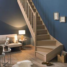Escalier quart tournant Nature avec contremarche marches/structure bois