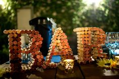 Yellow and Blue Summer Wedding at Still Waters Vineyards Summer Centerpieces, Wedding Centerpieces, Wine Cork Centerpiece, Reduce Reuse Recycle, Wedding Planning, Wedding Ideas, Hillbilly, Bar Signs