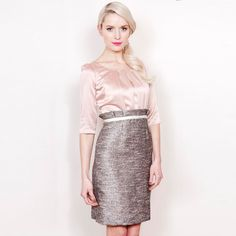 Fee G Pink and Tweed Dress