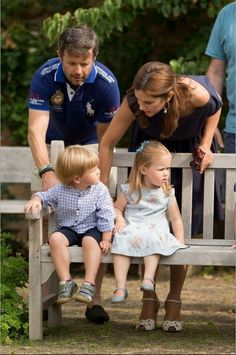 Crown Prince Frederik and Crown Princess Mary with their children Prince Vincent and Princess Josephine of Denmark