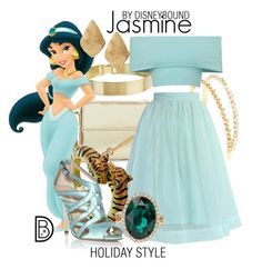 Jasmine by leslieakay on Polyvore featuring polyvore, fashion, style, Chicwish, Oscar de la Renta, Kenneth Jay Lane, ALDO, Lele Sadoughi, Chico's, Miu Miu, Christmas, disney, disneybound, disneycharacter and holidaystyle