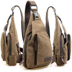 Men Canvas Backpack Shoulder Chest Hiking Bag - US$12.95